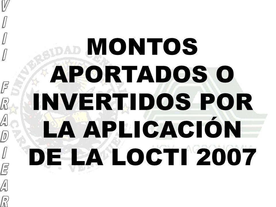 MONTOS APORTADOS O INVERTIDOS POR LA APLICACIÓN DE LA LOCTI 2007