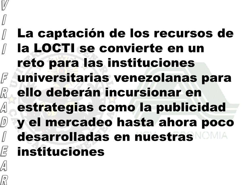 La captación de los recursos de la LOCTI se convierte en un reto para las instituciones universitarias venezolanas para ello deberán incursionar en es