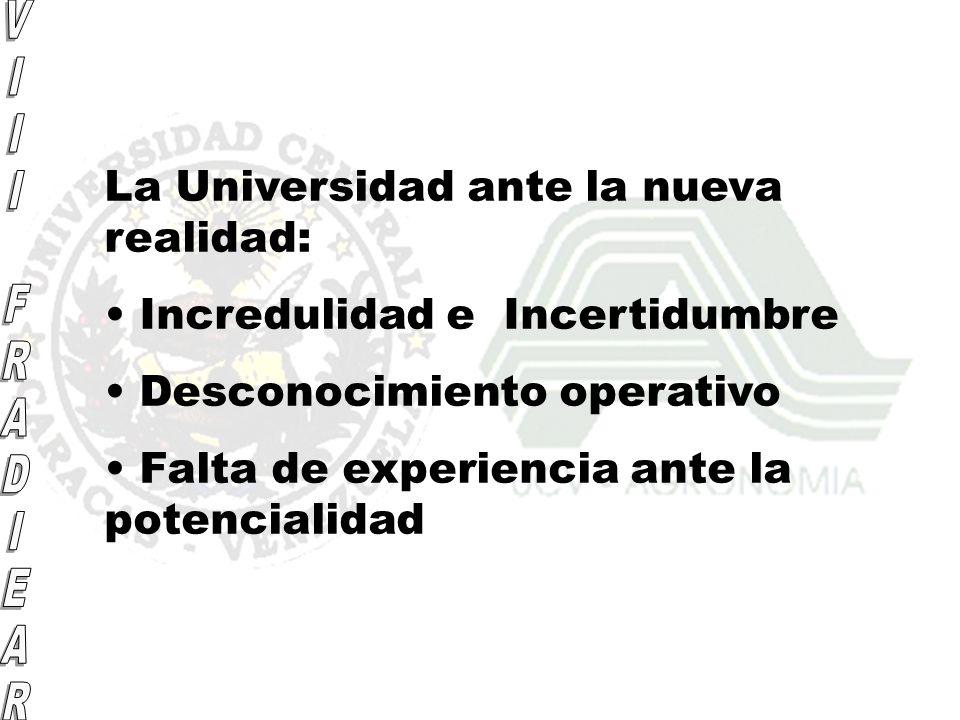 La Universidad ante la nueva realidad: Incredulidad e Incertidumbre Desconocimiento operativo Falta de experiencia ante la potencialidad