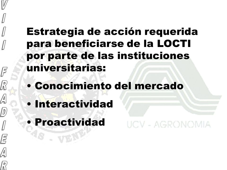 Estrategia de acción requerida para beneficiarse de la LOCTI por parte de las instituciones universitarias: Conocimiento del mercado Interactividad Pr