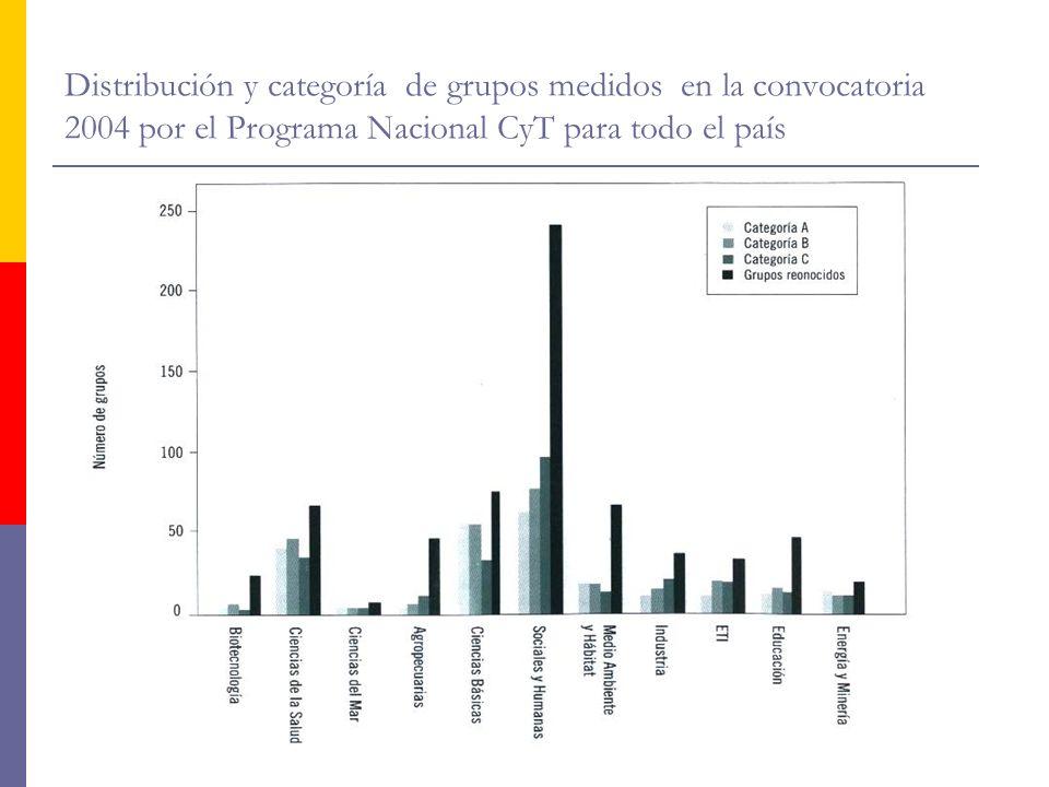 Distribución y categoría de grupos medidos en la convocatoria 2004 por el Programa Nacional CyT para todo el país