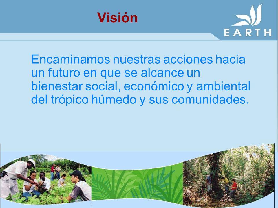 Encaminamos nuestras acciones hacia un futuro en que se alcance un bienestar social, económico y ambiental del trópico húmedo y sus comunidades. Visió