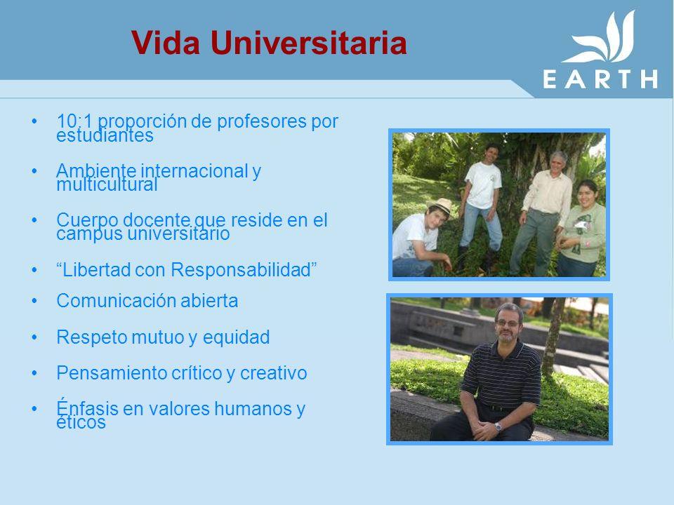 Vida Universitaria 10:1 proporción de profesores por estudiantes Ambiente internacional y multicultural Cuerpo docente que reside en el campus univers
