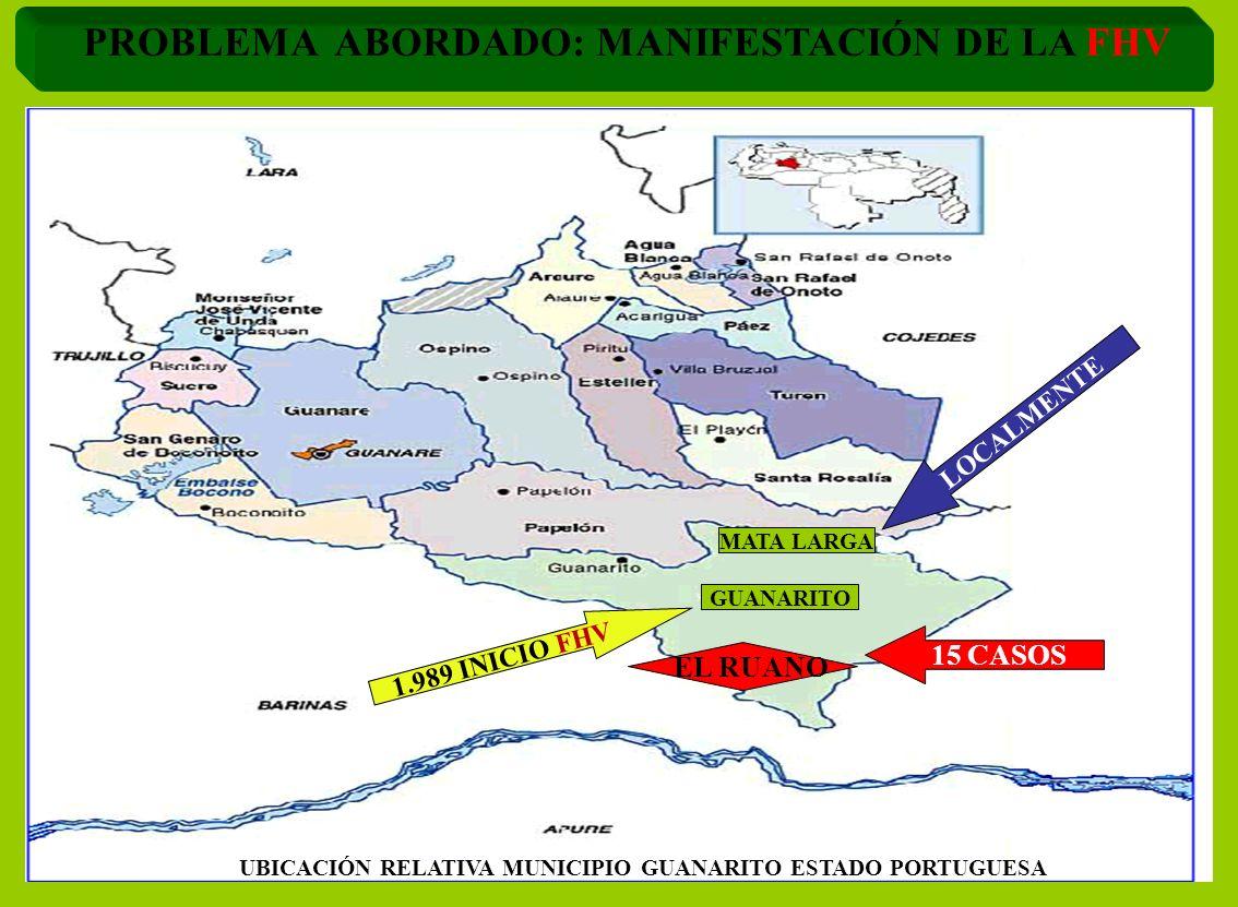 UBICACIÓN RELATIVA MUNICIPIO GUANARITO ESTADO PORTUGUESA 1.989 INICIO FHV 15 CASOS MATA LARGA EL RUANO LOCALMENTE PROBLEMA ABORDADO: MANIFESTACIÓN DE