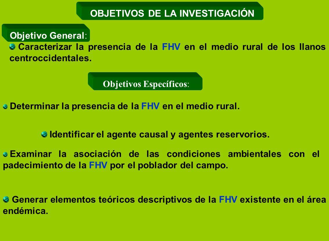 Generar elementos teóricos descriptivos de la FHV existente en el área endémica. Examinar la asociación de las condiciones ambientales con el padecimi