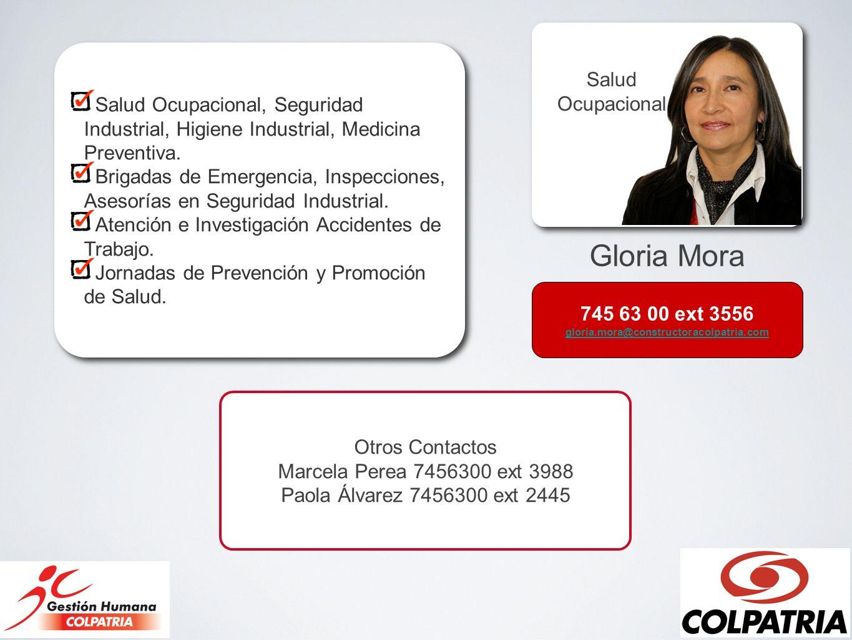 Gloria Mora Salud Ocupacional Salud Ocupacional, Seguridad Industrial, Higiene Industrial, Medicina Preventiva. Brigadas de Emergencia, Inspecciones,