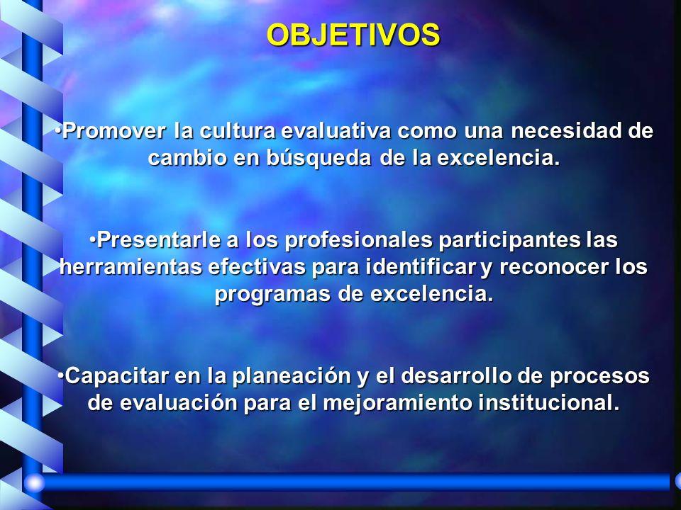 OBJETIVOS Promover la cultura evaluativa como una necesidad de cambio en búsqueda de la excelencia.Promover la cultura evaluativa como una necesidad de cambio en búsqueda de la excelencia.