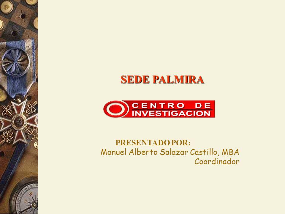 PRESENTADO POR: Manuel Alberto Salazar Castillo, MBA Coordinador SEDE PALMIRA SEDE PALMIRA