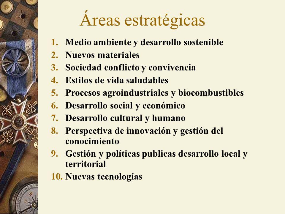 Áreas estratégicas 1.Medio ambiente y desarrollo sostenible 2.Nuevos materiales 3.Sociedad conflicto y convivencia 4.Estilos de vida saludables 5.Proc