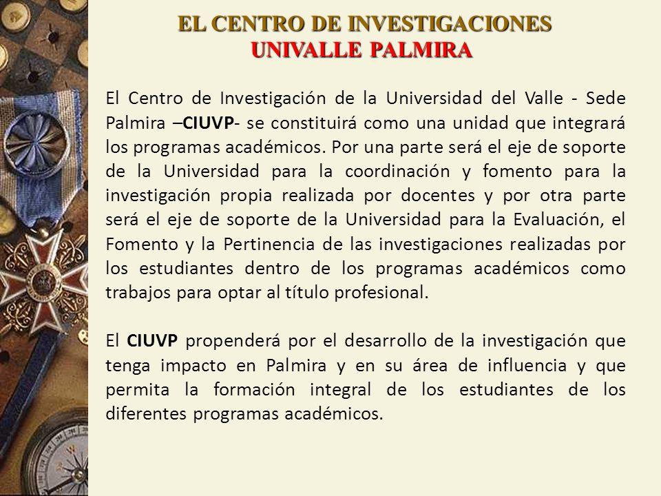 EL CENTRO DE INVESTIGACIONES UNIVALLE PALMIRA El Centro de Investigación de la Universidad del Valle - Sede Palmira –CIUVP- se constituirá como una un