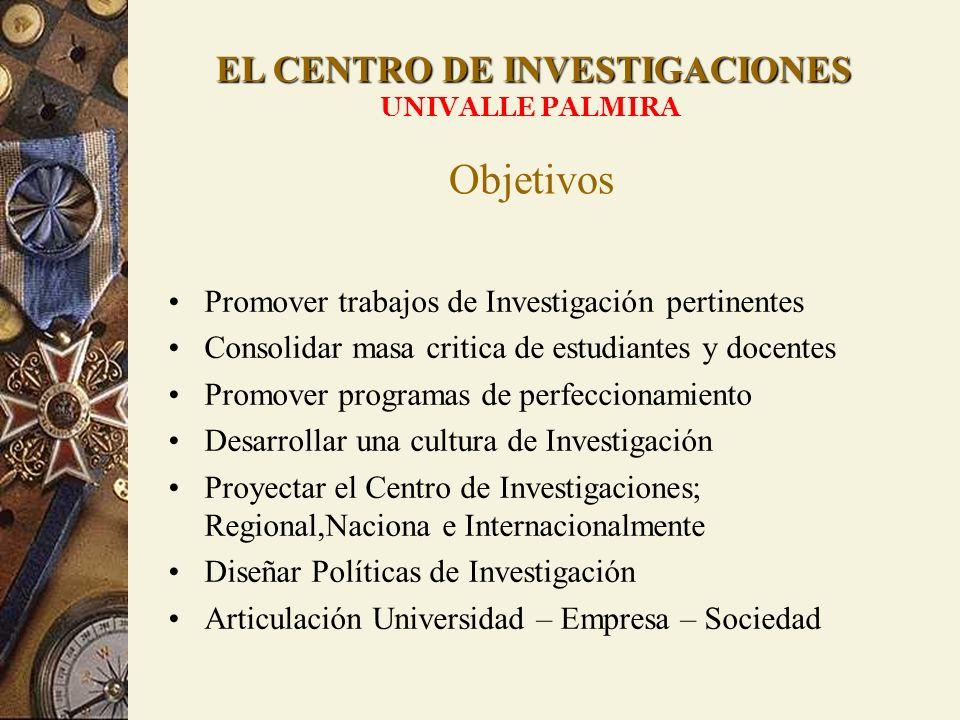 EL CENTRO DE INVESTIGACIONES UNIVALLE PALMIRA Promover trabajos de Investigación pertinentes Consolidar masa critica de estudiantes y docentes Promove