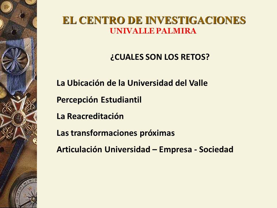 EL CENTRO DE INVESTIGACIONES UNIVALLE PALMIRA ¿CUALES SON LOS RETOS? La Ubicación de la Universidad del Valle Percepción Estudiantil La Reacreditación