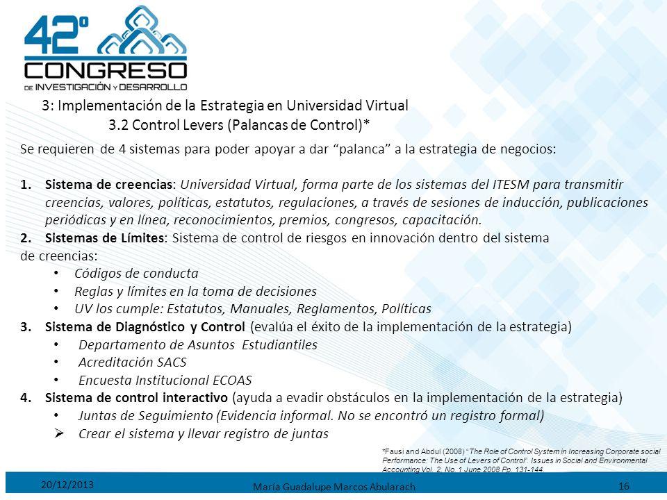 20/12/2013 María Guadalupe Marcos Abularach 16 3: Implementación de la Estrategia en Universidad Virtual 3.2 Control Levers (Palancas de Control)* Se