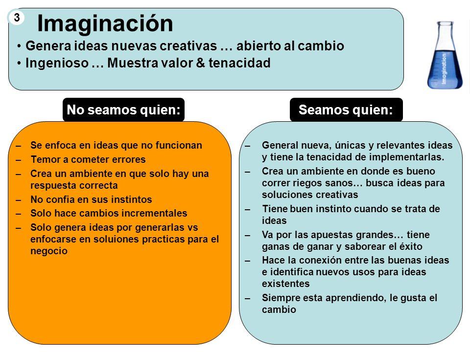 3 Imaginación Genera ideas nuevas creativas … abierto al cambio Ingenioso … Muestra valor & tenacidad –Se enfoca en ideas que no funcionan –Temor a co