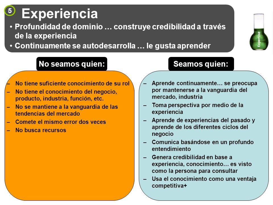 5 Experiencia Profundidad de dominio … construye credibilidad a través de la experiencia Continuamente se autodesarrolla … le gusta aprender –No tiene