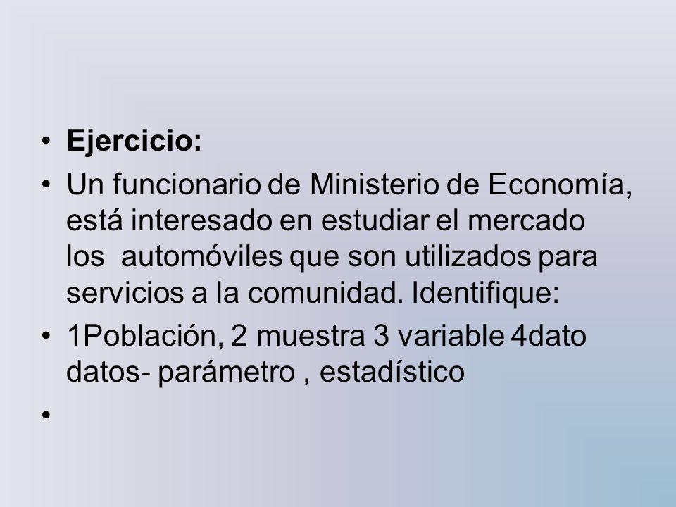 Ejercicio: Un funcionario de Ministerio de Economía, está interesado en estudiar el mercado los automóviles que son utilizados para servicios a la com