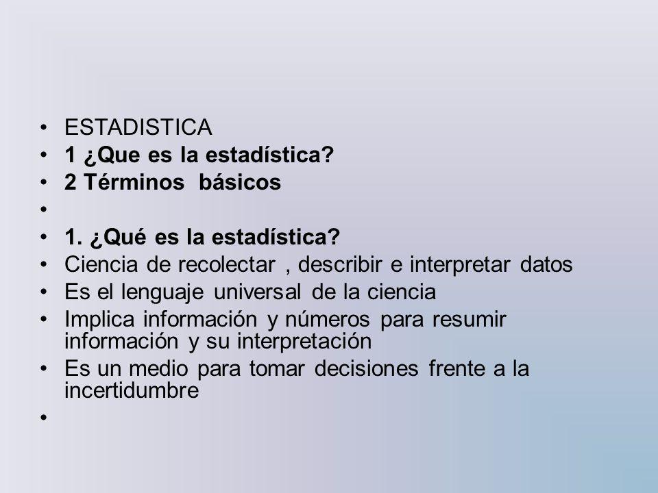 Estadística descriptiva: una gran parte de la estadística que se dedica a analizar y representar los datos.estadística Este análisis es muy básico.