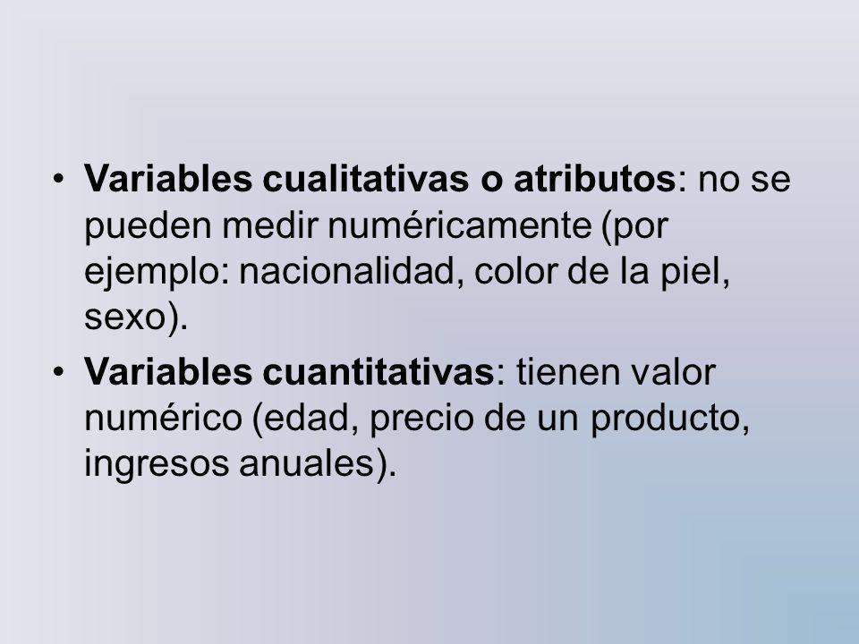 Las variables también se pueden clasificar en: Variables unidimensionales: sólo recogen información sobre una característica (por ejemplo: edad de los alumnos de una clase).