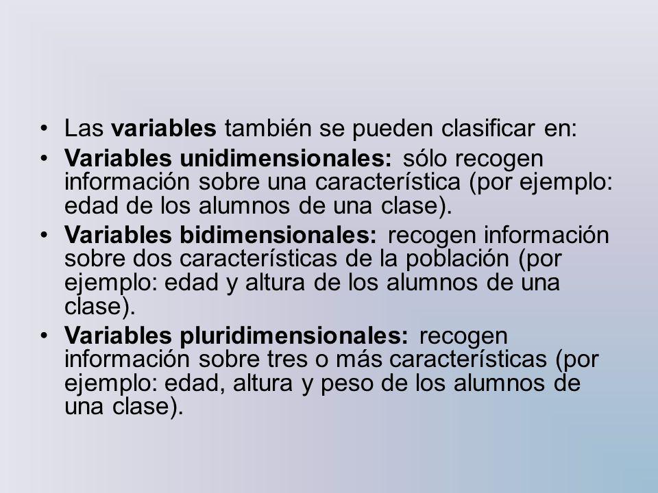 Por su parte, las variables cuantitativas se pueden clasificar en discretas y continuas: Discretas: sólo pueden tomar valores enteros (1, 2, 8, -4, etc.).