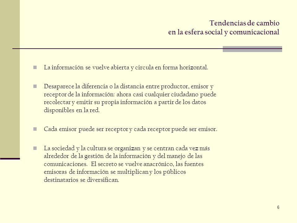 6 Tendencias de cambio en la esfera social y comunicacional La información se vuelve abierta y circula en forma horizontal.
