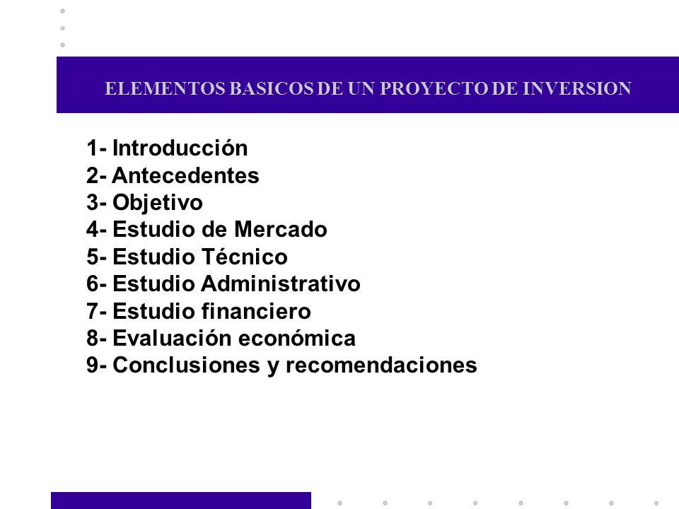 ELEMENTOS BASICOS DE UN PROYECTO DE INVERSION 1- Introducción 2- Antecedentes 3- Objetivo 4- Estudio de Mercado 5- Estudio Técnico 6- Estudio Administ