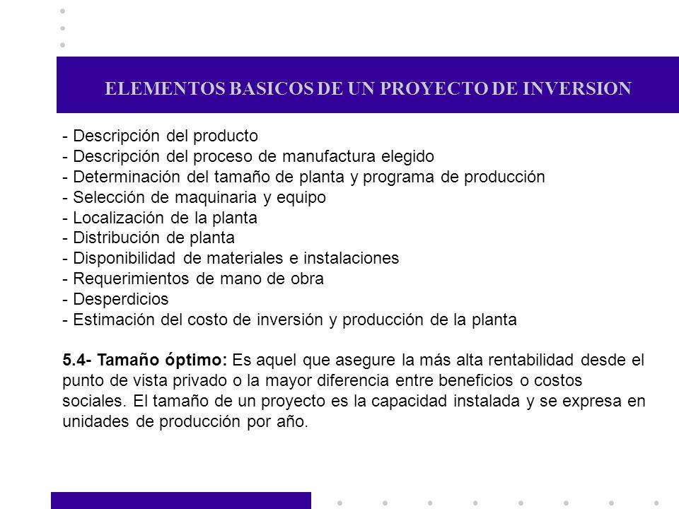 ELEMENTOS BASICOS DE UN PROYECTO DE INVERSION - Descripción del producto - Descripción del proceso de manufactura elegido - Determinación del tamaño d