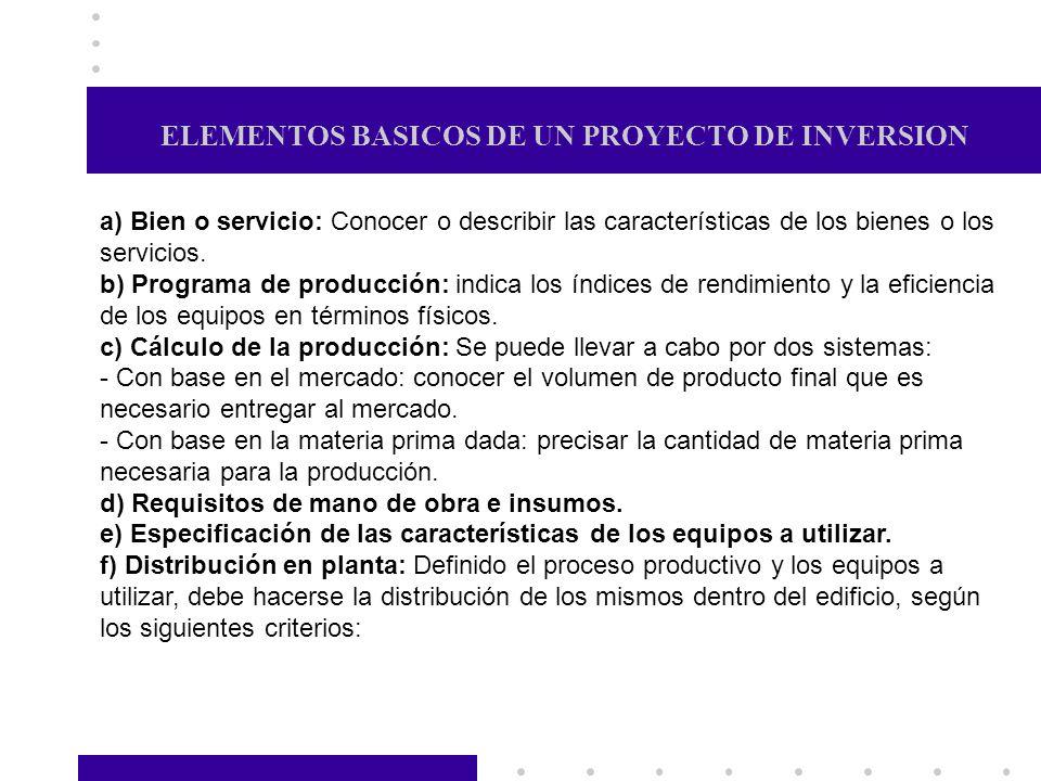 ELEMENTOS BASICOS DE UN PROYECTO DE INVERSION a) Bien o servicio: Conocer o describir las características de los bienes o los servicios. b) Programa d