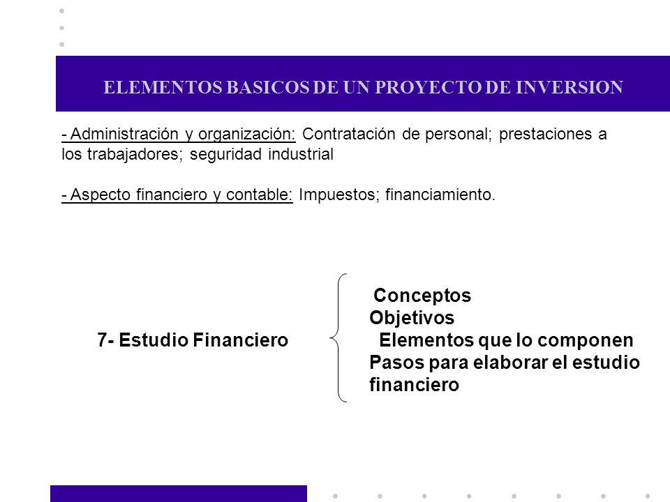 ELEMENTOS BASICOS DE UN PROYECTO DE INVERSION - Administración y organización: Contratación de personal; prestaciones a los trabajadores; seguridad in
