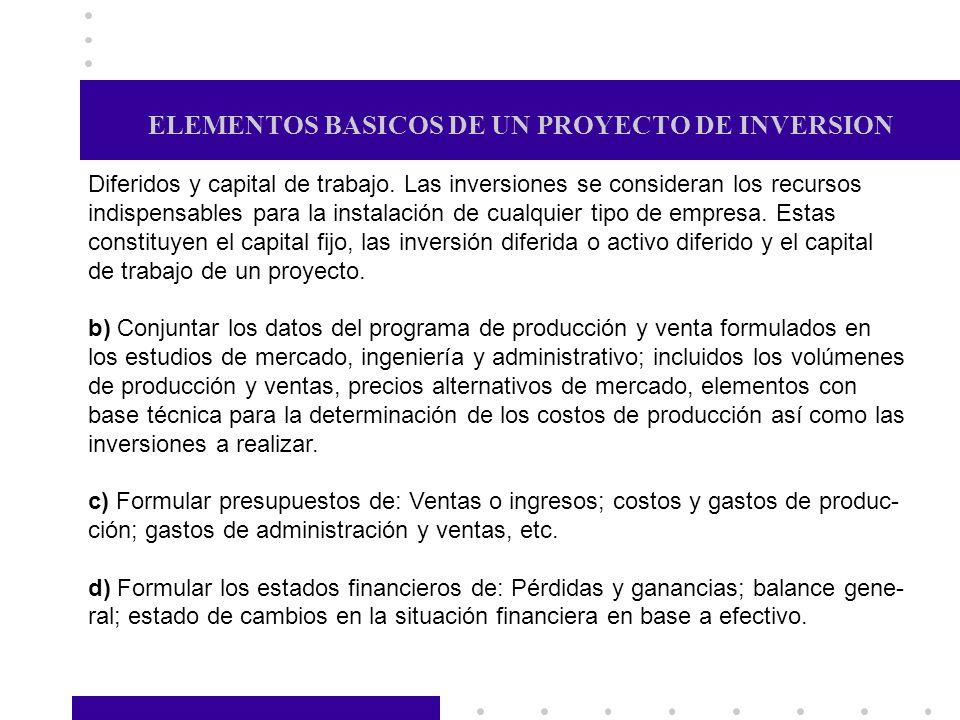 ELEMENTOS BASICOS DE UN PROYECTO DE INVERSION Diferidos y capital de trabajo. Las inversiones se consideran los recursos indispensables para la instal