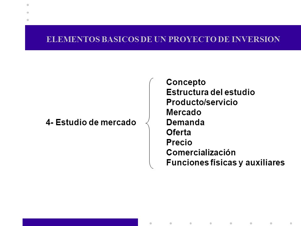 ELEMENTOS BASICOS DE UN PROYECTO DE INVERSION Concepto Estructura del estudio Producto/servicio Mercado Demanda Oferta Precio Comercialización Funcion
