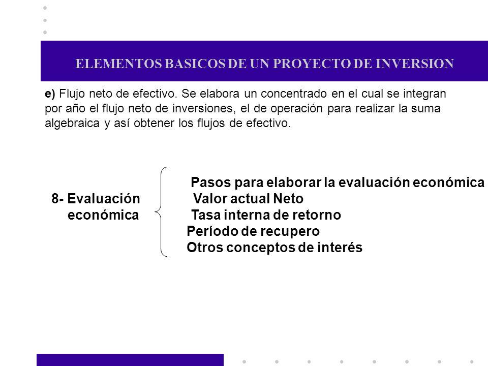 ELEMENTOS BASICOS DE UN PROYECTO DE INVERSION e) Flujo neto de efectivo. Se elabora un concentrado en el cual se integran por año el flujo neto de inv