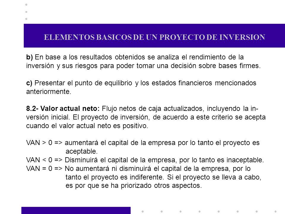 ELEMENTOS BASICOS DE UN PROYECTO DE INVERSION b) En base a los resultados obtenidos se analiza el rendimiento de la inversión y sus riesgos para poder