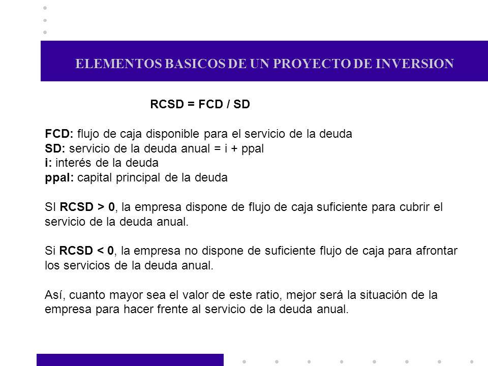 ELEMENTOS BASICOS DE UN PROYECTO DE INVERSION RCSD = FCD / SD FCD: flujo de caja disponible para el servicio de la deuda SD: servicio de la deuda anua
