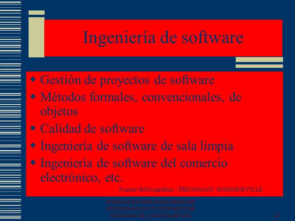 FORMACION DEL INGENIERO DE SISTEMAS CON UN ENFOQUE DE GESTION DE CONOCIMIENTO21 Ingeniería de software Gestión de proyectos de software Métodos formal