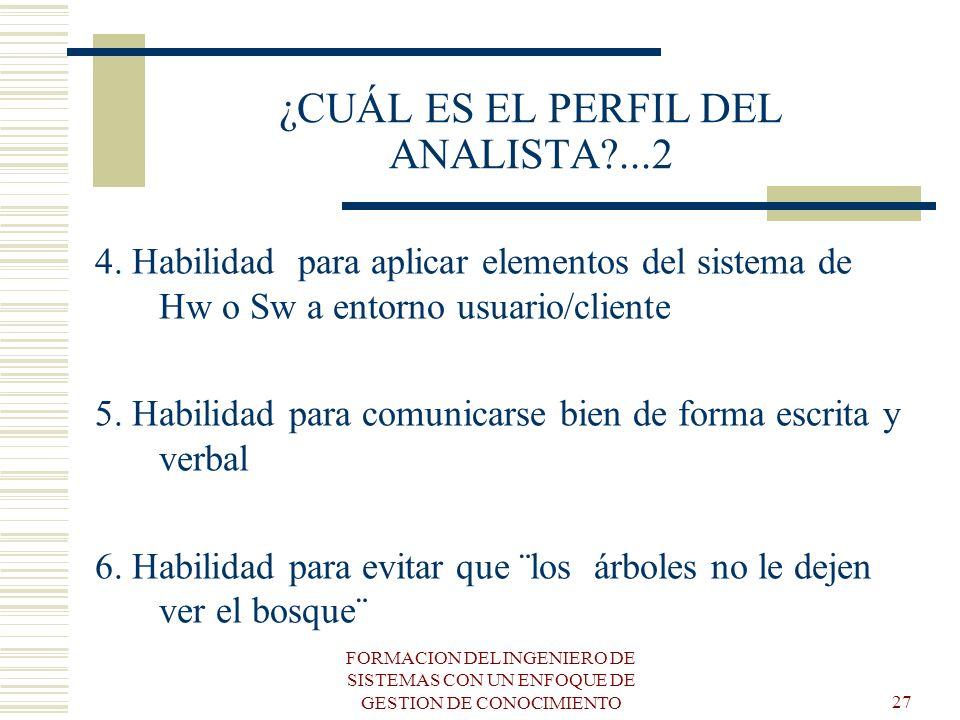 FORMACION DEL INGENIERO DE SISTEMAS CON UN ENFOQUE DE GESTION DE CONOCIMIENTO27 ¿CUÁL ES EL PERFIL DEL ANALISTA?...2 4. Habilidad para aplicar element