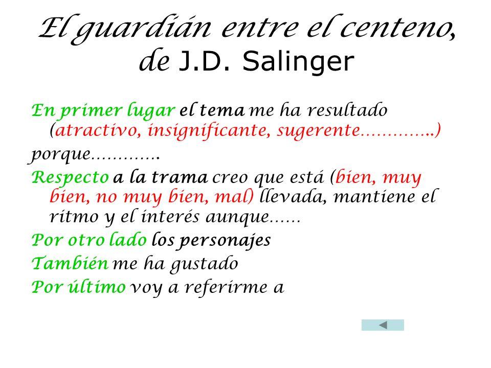 El guardián entre el centeno, de J.D. Salinger En primer lugar el tema me ha resultado (atractivo, insignificante, sugerente…………..) porque…………. Respec