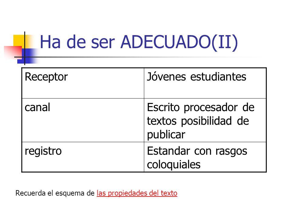 Ha de ser ADECUADO(II) ReceptorJóvenes estudiantes canalEscrito procesador de textos posibilidad de publicar registroEstandar con rasgos coloquiales R