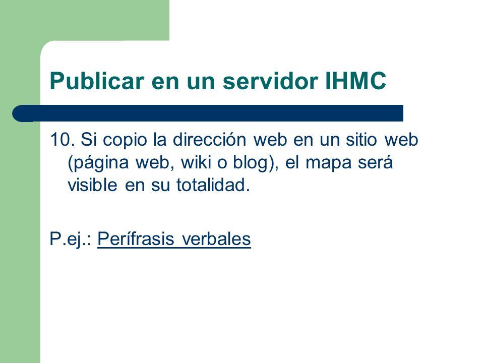 Publicar en un servidor IHMC 10. Si copio la dirección web en un sitio web (página web, wiki o blog), el mapa será visible en su totalidad. P.ej.: Per
