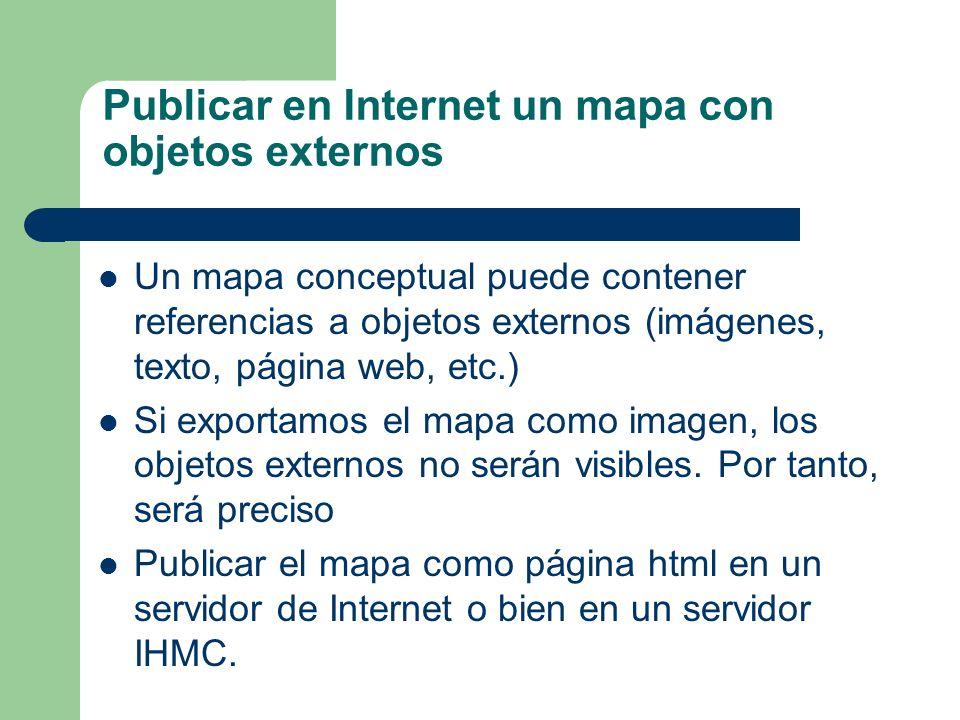 Publicar en Internet un mapa con objetos externos Un mapa conceptual puede contener referencias a objetos externos (imágenes, texto, página web, etc.)