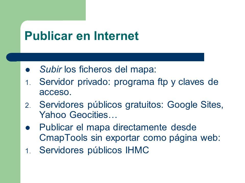 Publicar en Internet en servidor no IHMC Exportar el mapa conceptual en CmapTools como página web :