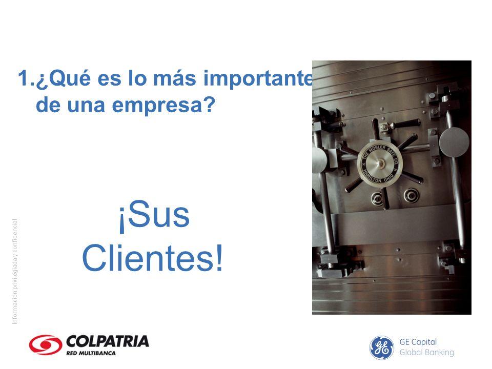Información privilegiada y confidencial 1.¿Qué es lo más importante de una empresa? ¡Sus Clientes!