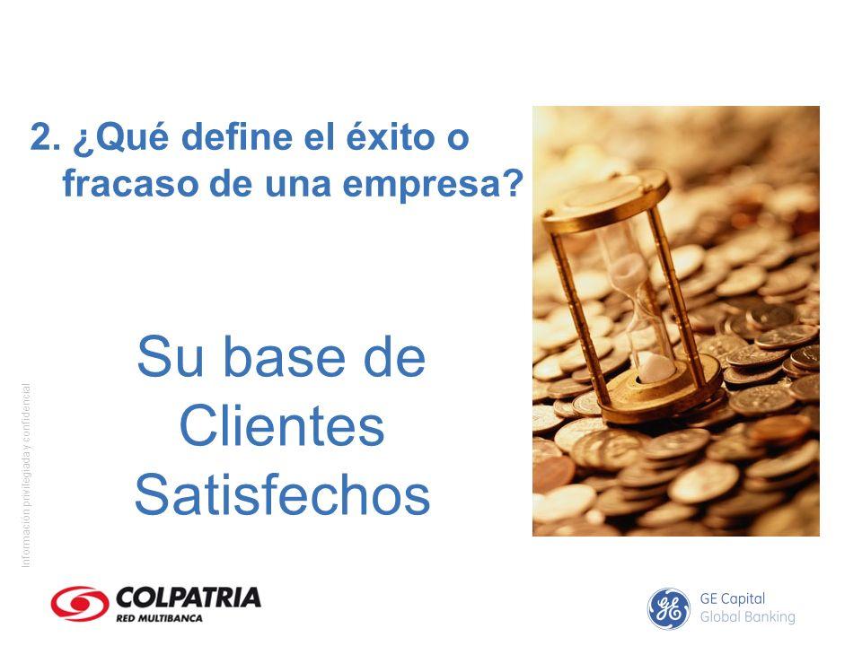 Información privilegiada y confidencial Su base de Clientes Satisfechos 2. ¿Qué define el éxito o fracaso de una empresa?