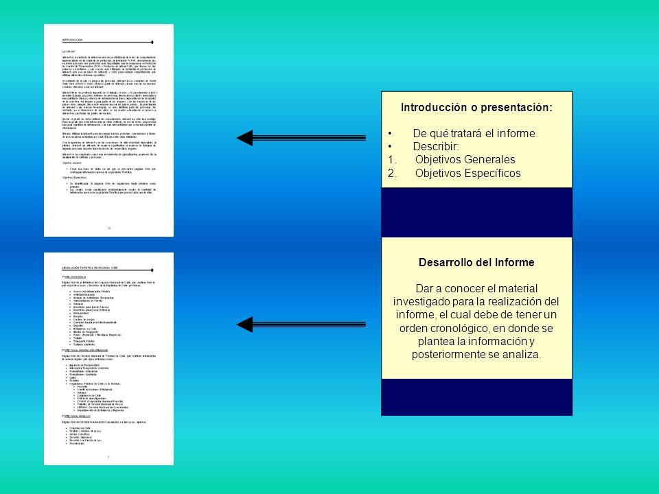 Introducción o presentación: De qué tratará el informe. Describir: 1. Objetivos Generales 2. Objetivos Específicos Desarrollo del Informe Dar a conoce