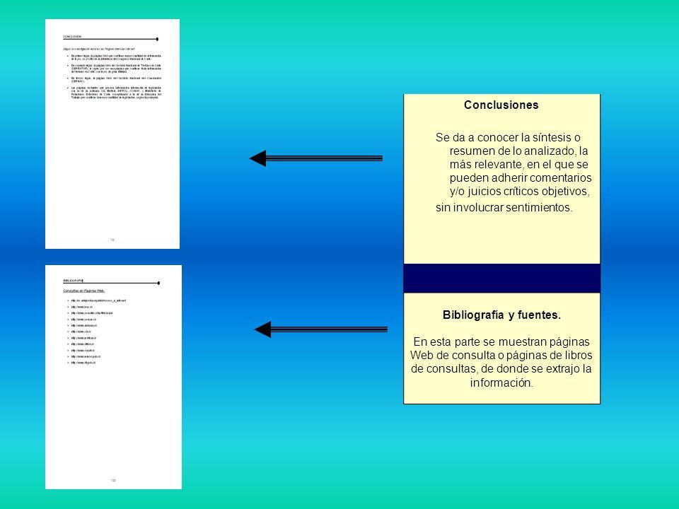 Conclusiones Se da a conocer la síntesis o resumen de lo analizado, la más relevante, en el que se pueden adherir comentarios y/o juicios críticos obj