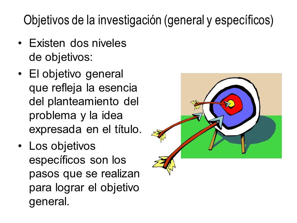 Objetivos de la investigación (general y específicos) Existen dos niveles de objetivos: El objetivo general que refleja la esencia del planteamiento d