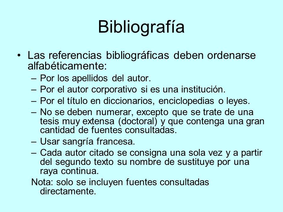 Bibliografía Las referencias bibliográficas deben ordenarse alfabéticamente: –Por los apellidos del autor. –Por el autor corporativo si es una institu