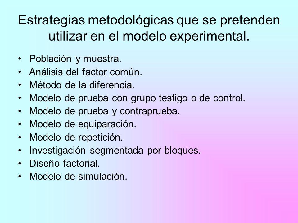 Estrategias metodológicas que se pretenden utilizar en el modelo experimental. Población y muestra. Análisis del factor común. Método de la diferencia