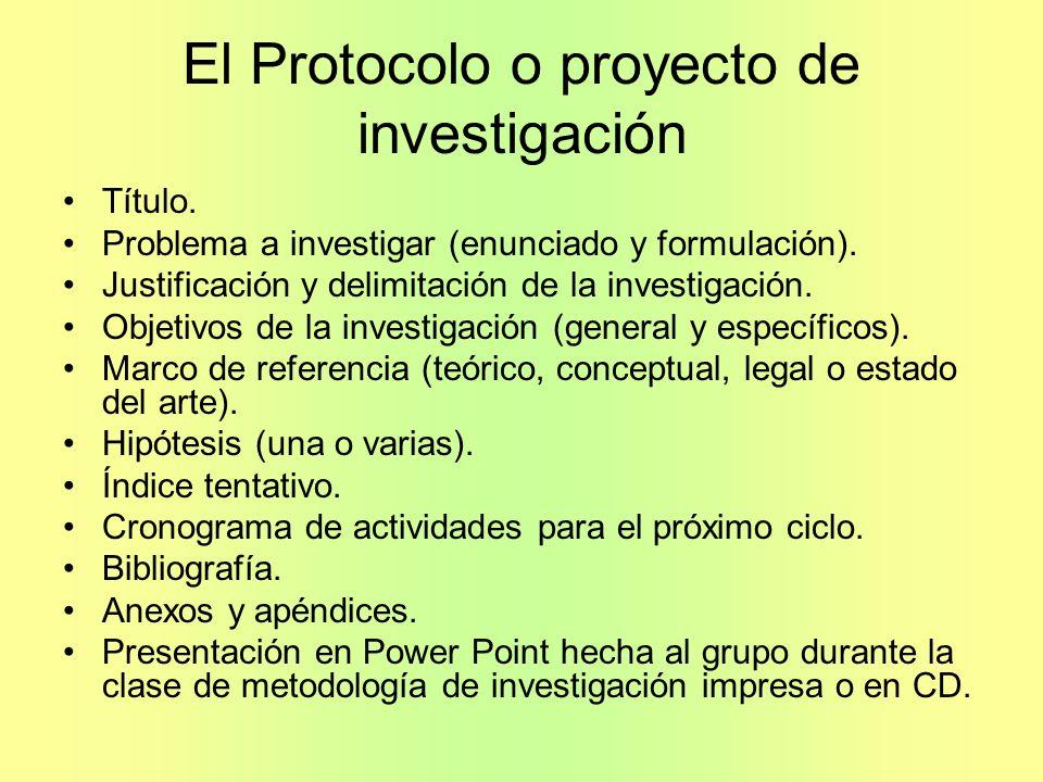 El Protocolo o proyecto de investigación Título. Problema a investigar (enunciado y formulación). Justificación y delimitación de la investigación. Ob
