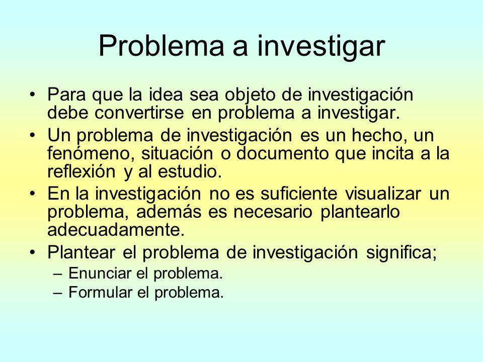 Problema a investigar Para que la idea sea objeto de investigación debe convertirse en problema a investigar. Un problema de investigación es un hecho