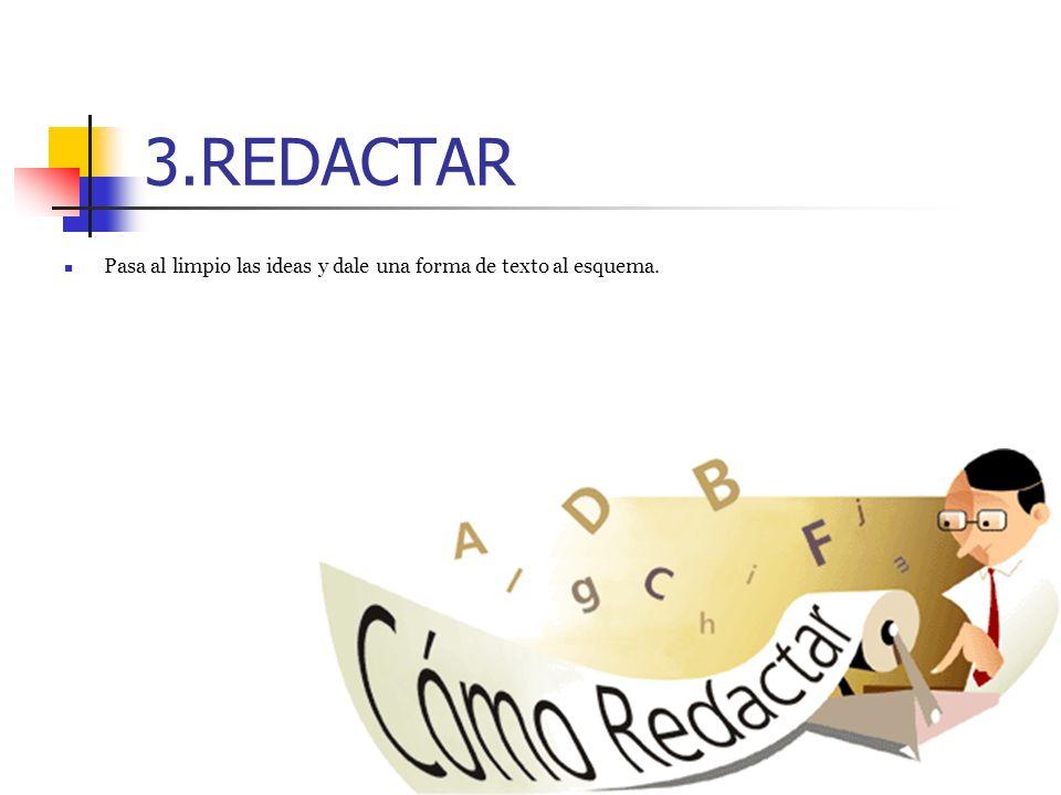 3.REDACTAR Pasa al limpio las ideas y dale una forma de texto al esquema.
